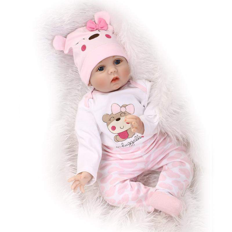 Premium Hair Rooted Realistic Reborn Baby Dolls Soft Silicone 22