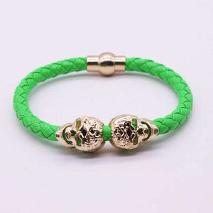 Braided Leather Gold Skull Bracelet