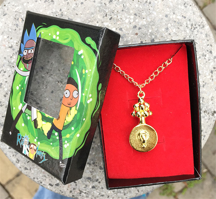 Rick and Morty Gold Plumbus Necklace