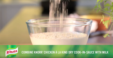 Step 5: Mix the knorr with the chicken al a king mix with the milk
