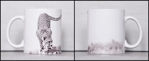 Black and White Custom Printed African Cheetah Hunt Ceramic Coffee Mug