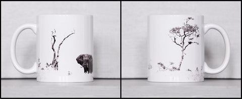 African Elephant Grazing Ceramic Coffee Mugs