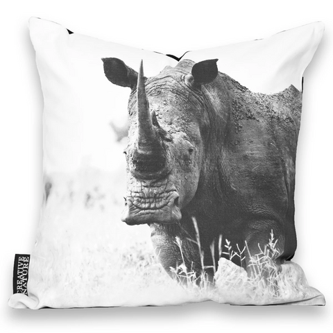 Cushion Cover SC BW 18 White Rhinoceros