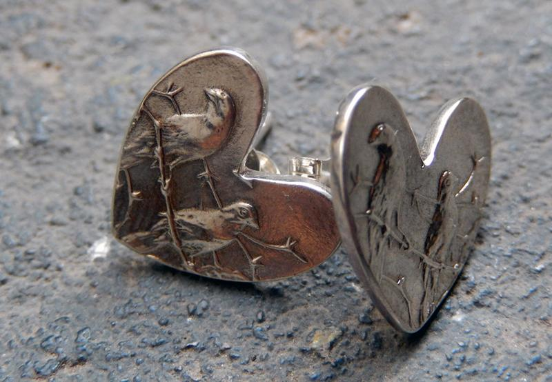 One Cent Heart Studs Silver