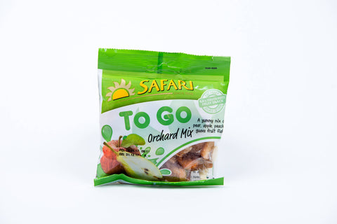 Safari To Go Orchard Mix Apple, Pear Peach and guava fruit flakes 50g
