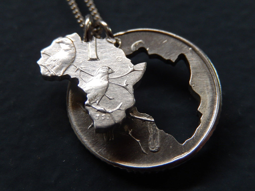 One Cent Mini Double Africa One Cent Silver Necklace