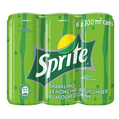 Sprite Lemon Lime & Cucumber 300ml Can x 6