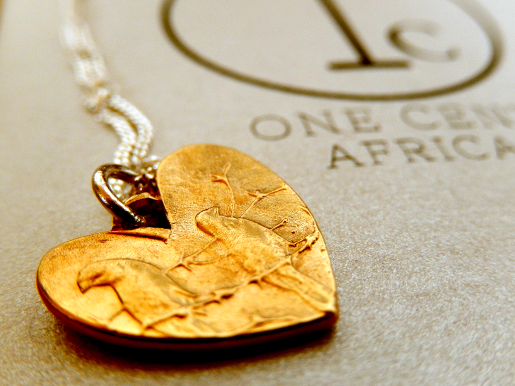One Cent Heart Pendant in Copper on 45cm Sterling Silver Chain