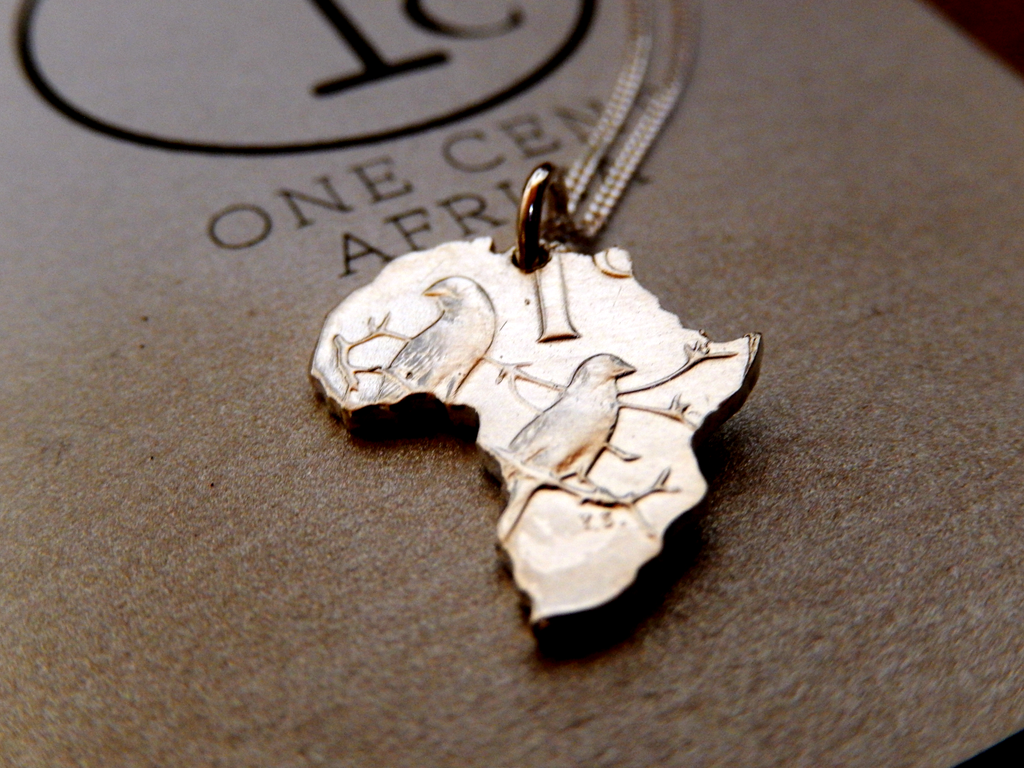 One Cent Africa Pendant in Silver on 45cm Sterling Silver Chain