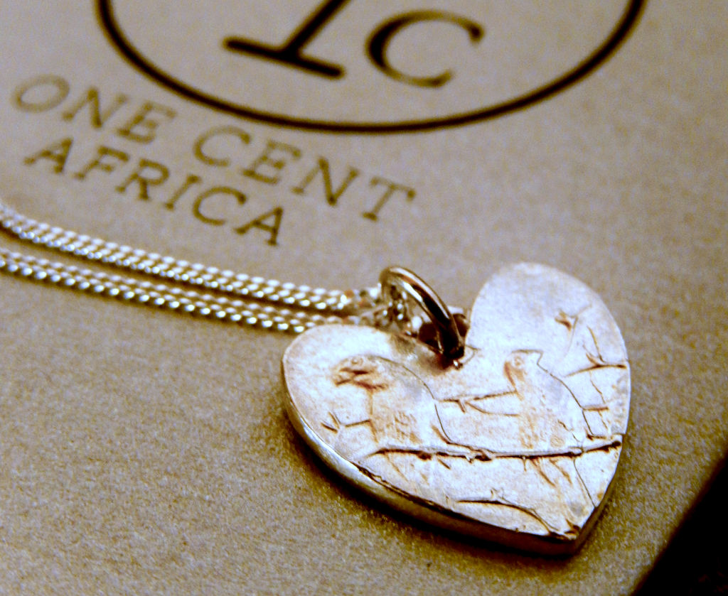One Cent One Cent Heart Pendant in Silver on 45cm Sterling Silver Chain