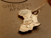 One Cent Africa Pendant in Copper on 45cm Sterling Silver Chain