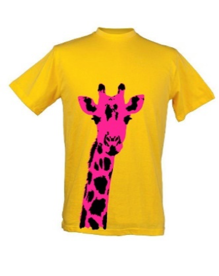 Kids Pink Giraffe Plain Yellow Background T Shirt