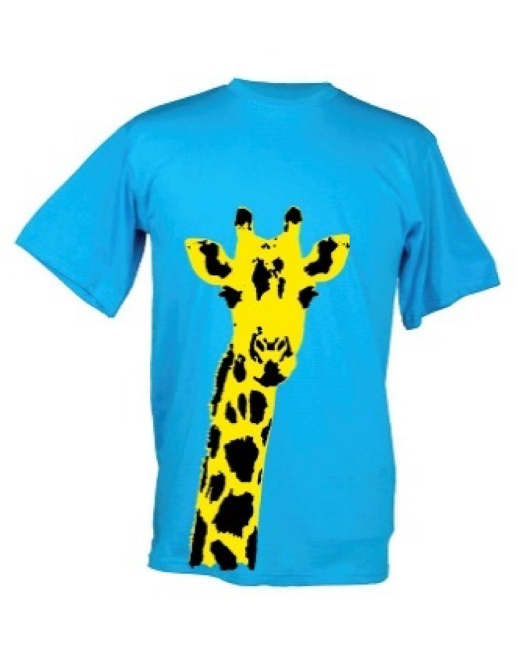 Kids Yellow Giraffe Plain Blue Background T Shirt