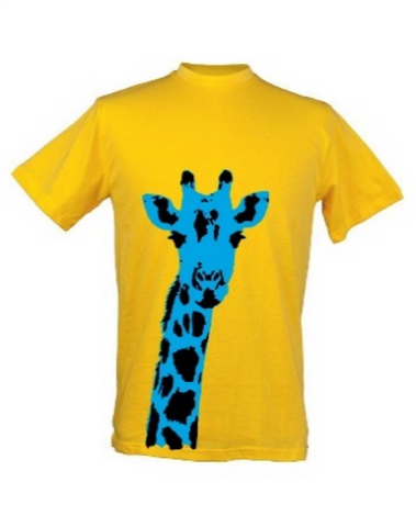 Kids Giraffe Plain Yellow Background T Shirt