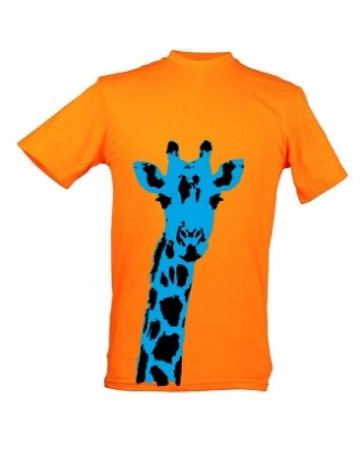 Kids Blue Giraffe Plain Orange Background T Shirt