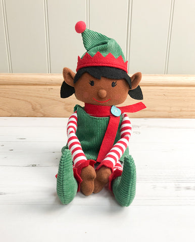 Dark-Skinned Christmas Girl Elf Toy & Magical Reward Kit