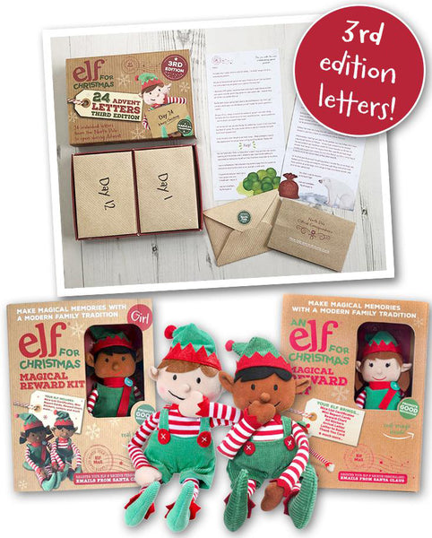 Christmas Elf Toy & Magical Reward Kit and Third Edition Advent Letter Set Bundle