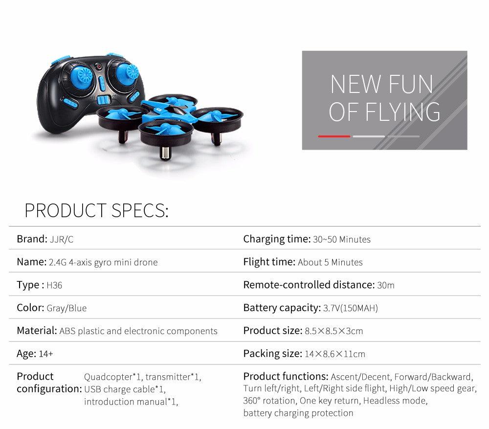 JJRC H36 Mini Drone RC Quadcopter Drone Headless Mode