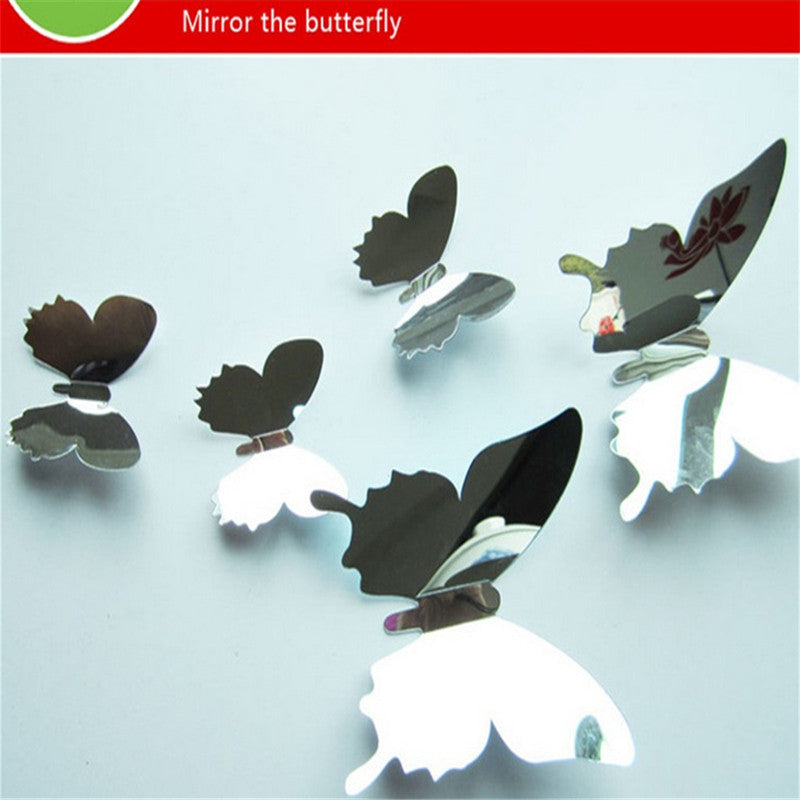 New Arrive Mirror Sliver 3D Butterfly Wall Stickers 12pcs/set