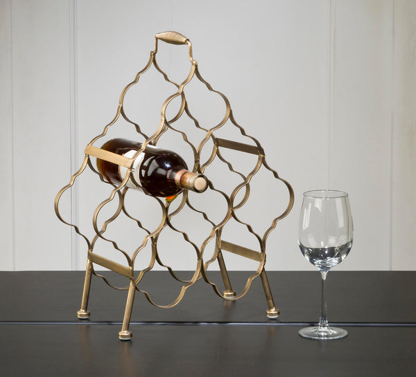 8 Place Brushed Gold Metal Wine Rack