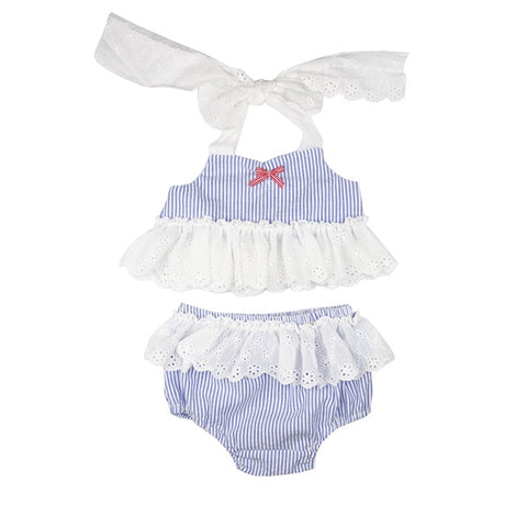 Sail Away Infant and Toddler Girls Teeny Kini  by Haute Baby