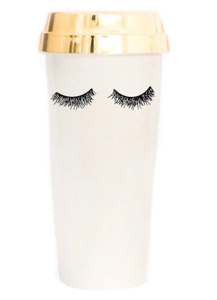 Eyelashes Gold Travel Mug