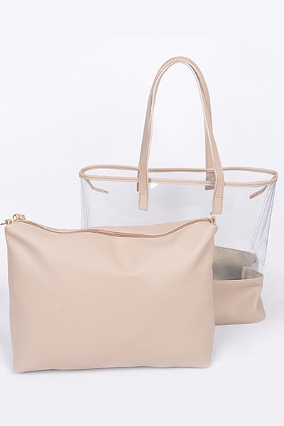 Clear Neutral Handbag and Case