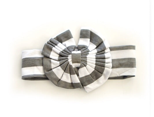 Bow Head Band - Grey and White