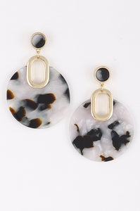 Ivory Gold Acrylic Circle Earrings
