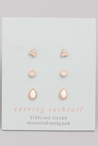 Opal Minimal Studs Sterling Silver