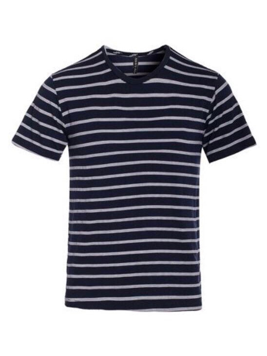 """Cape Canaveral"" Navy Wide Striped T Shirt"