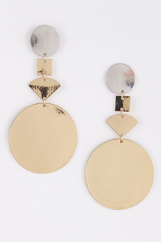 Gold & Silver Circle Drop Earrings