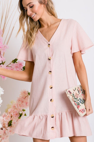 """Peony Pink"" Button Up Dress"