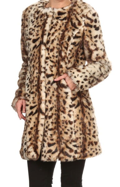 """Leila"" Leopard Faux Fur Coat"