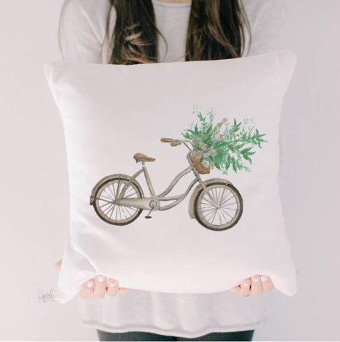 "16"" Floral Bike Watercolor Pillow Cover"