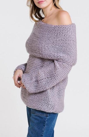 """Rachel"" Lavender Off Shoulder Sweater"