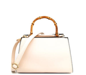 Ivory Bamboo Handle Satchel Handbag