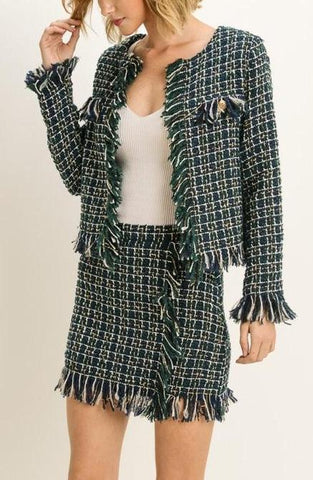 """Green With Envy"" 2 Piece Tweed Set"