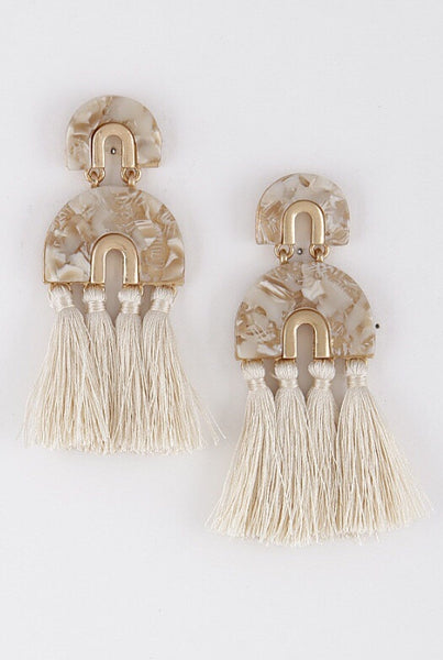 Ivory Acrylic and Tassel Earrings