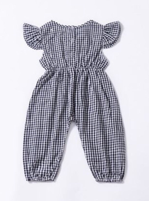 """Picnicking Pretty"" Black Plaid Jumpsuit"