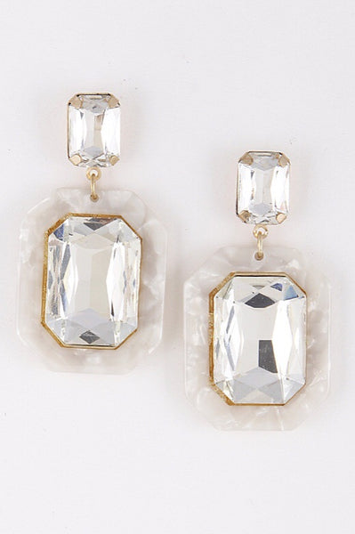 Drop Statement Earrings White