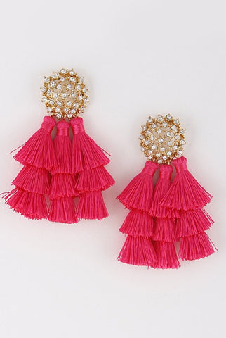 Hot Pink Tassel Earrings