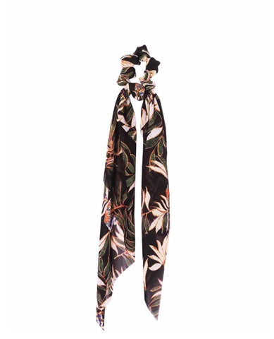 Silk Hair Tie Scarf Black Floral