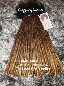SMEDIUM WIDTH #1b Roots/Honey Ombre Tips Dreadlock Bundles(10 Locs Per Bundle)