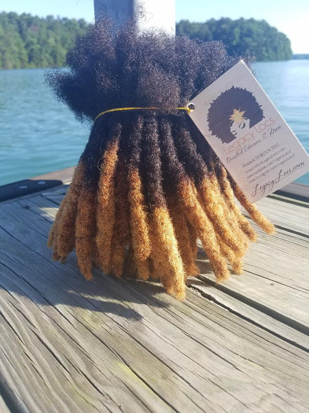 (MEDIUM WIDTH) #1b Roots/Honey Tips Dreadlock Bundles..