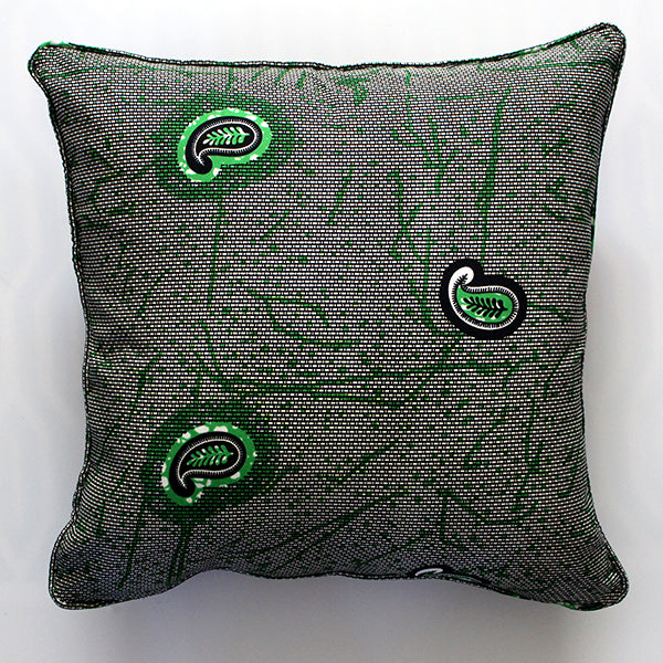 Green Paisley 20x20 Pillow Cover