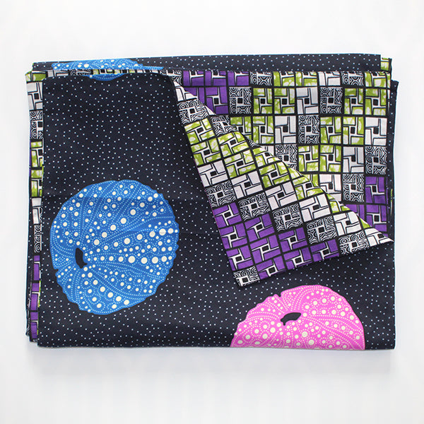 Eat Drink & Be Merry Table Runner - Blue Pink Sea Urchins on Navy & Cubes