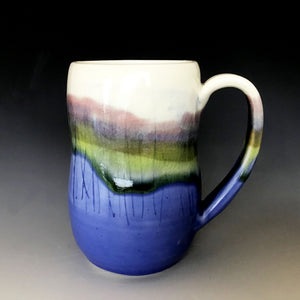 12 oz Mountain and Lakeshore Curvy Mug Liz Proffetty Ceramics Item#M9
