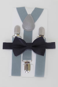 Black Bow Tie & Gray Suspenders