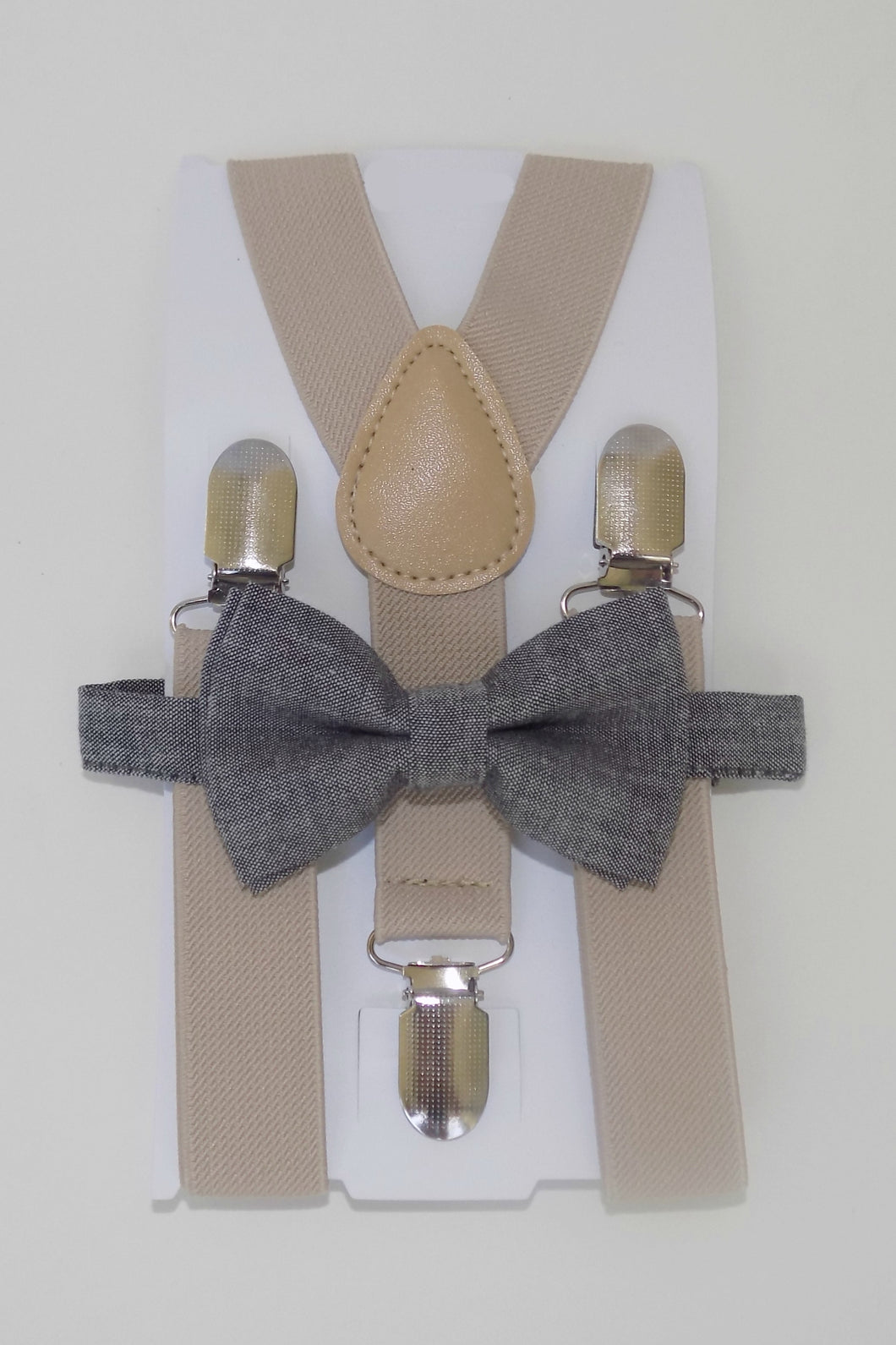 Chambray Bow Tie & Suspenders